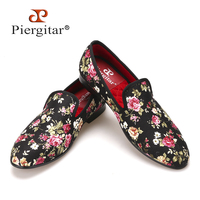 Piergitar New Handmade Flower Men Canvas Shoes China Style Men Wedding And Party Loafers Men Flats