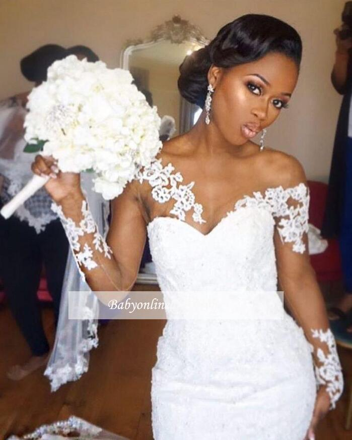 Nigeria Long Sleeves Wedding Dresses Sheer Neck Illusion Appliques