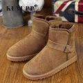 Couro moda unissex Botas de Neve Mulheres Novo Assunto Rebanho Botas Curtas De Pelúcia Botas de Neve Quente sapatos de Inverno Frio Tamanho36-45 H121