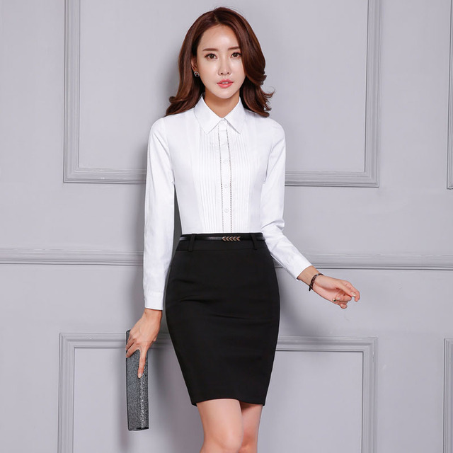 Formal Career Work Wear Suits Novelty White Slim Fashion Tops And Skirt Long Sleeve Ladies Office Shirts Tops Uniforms Sets