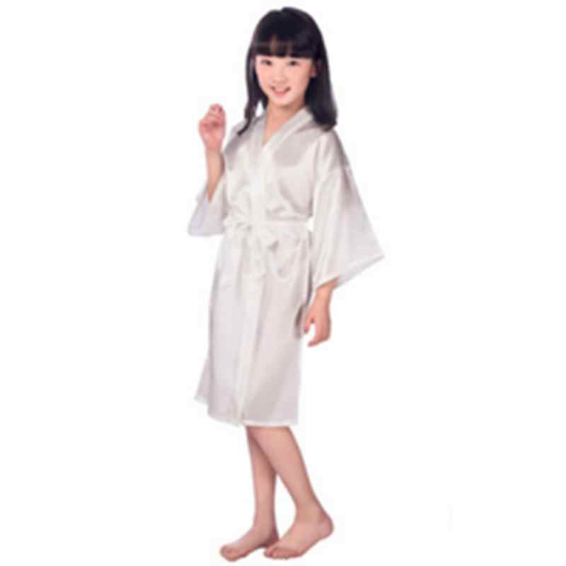 女の赤ちゃん子供シルクサテン着物ローブパジャマ結婚式の花のバスローブ