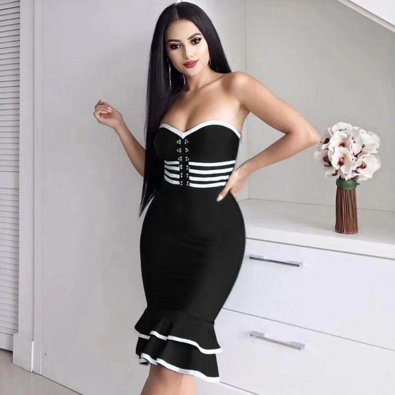 2019 frauen Sexy Off Schulter Rüschen Bodycon Kleid Fishtail Midi Club Backless Promi Party Kleid - 2