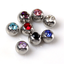 JOVIVI Lot 8pc 16g Stainless Steel Czech Crystal Replacement Ball Bead for Belly Chain/Labret/ Nath/Tongue Ring/Earring Piercing