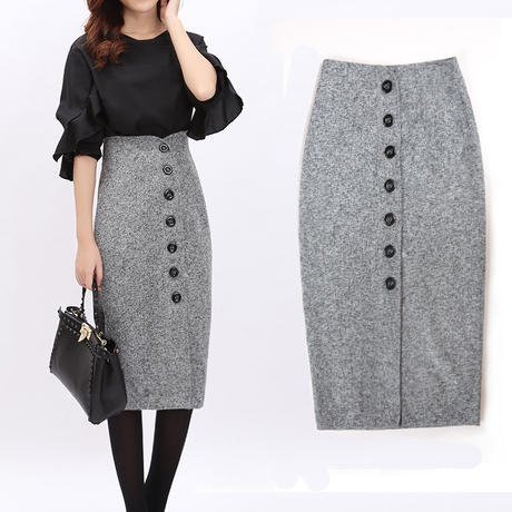 Popular Office Lady Slim High Waist Woolen Pencil Skirt-Buy Cheap ...