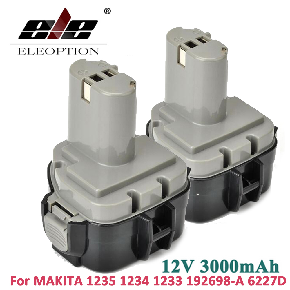 ELEOPTION 2PCS 12V 3000mAh 3 0Ah Ni MH Battery for MAKITA 1234 1235 1233 192698 A