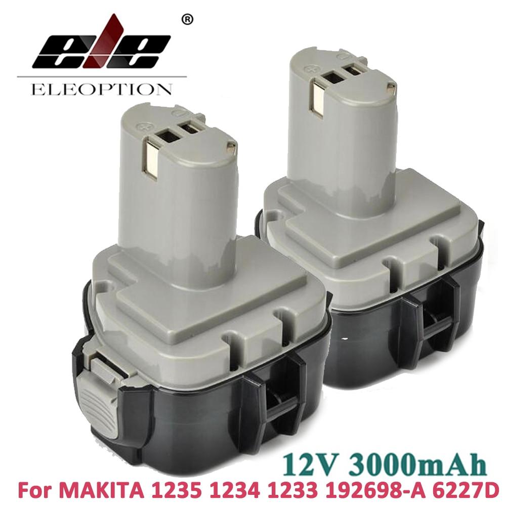 ELEOPTION 2PCS 12V 3000mAh 3.0Ah Ni-MH Battery for MAKITA 1234 1235 1233 192698-A 4013D 6227D 8413D 6223D 6980FD Cordless Drill 12v 3000mah ni mh eleoption replacement cordless drill power tool battery for hitachi eb1212s eb1214l eb1214s free shipping