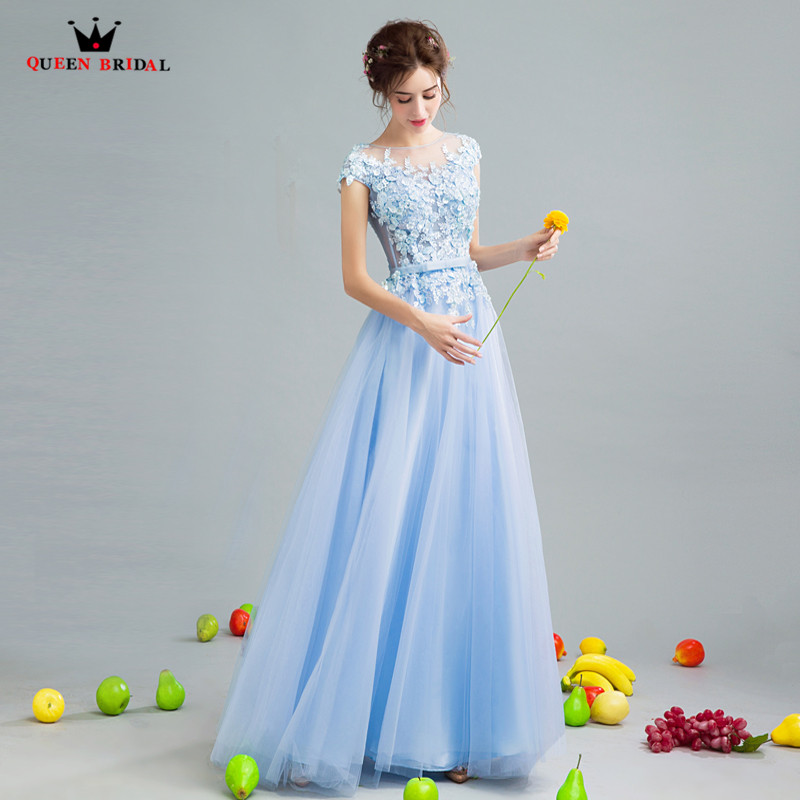 Elegant Blue   Evening     Dresses   2019 Fashion A-line Tulle Lace Appliques Beading Formal Party Gowns   Dress     Evening   Gown CS434