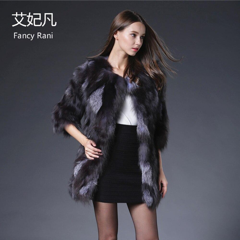 2018 Echte Fuchspelzmäntel für Frauen Kristall Jacke Mantel Silber - Damenbekleidung - Foto 3