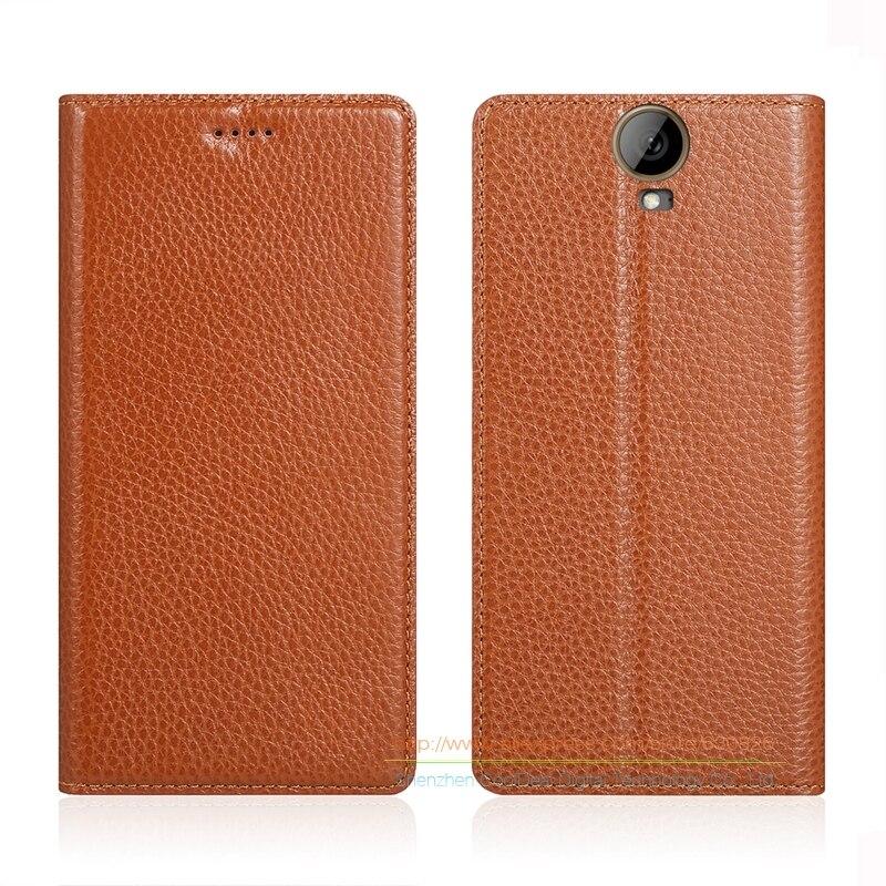 imágenes para Imán Invisible Caja Del Cuero Genuino Para HTC Uno E9 Plus E9 + 5.5 pulgadas Del Teléfono Móvil de Lujo Del Soporte Del Tirón de piel de Vaca Cubierta de cuero