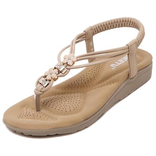 SIKETU Women Summer Casual Flat Sandals Ladies Summer Bohemia Beach Flip Flops Shoes Women Shoes Sandles size 35 Apricot