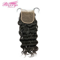 [Berrys Fashion]Peruvian Virgin Hair Loose Wave Lace Closure 4*4 Virgin Human Hair Free Part Bleached Knot Closure Natural Color