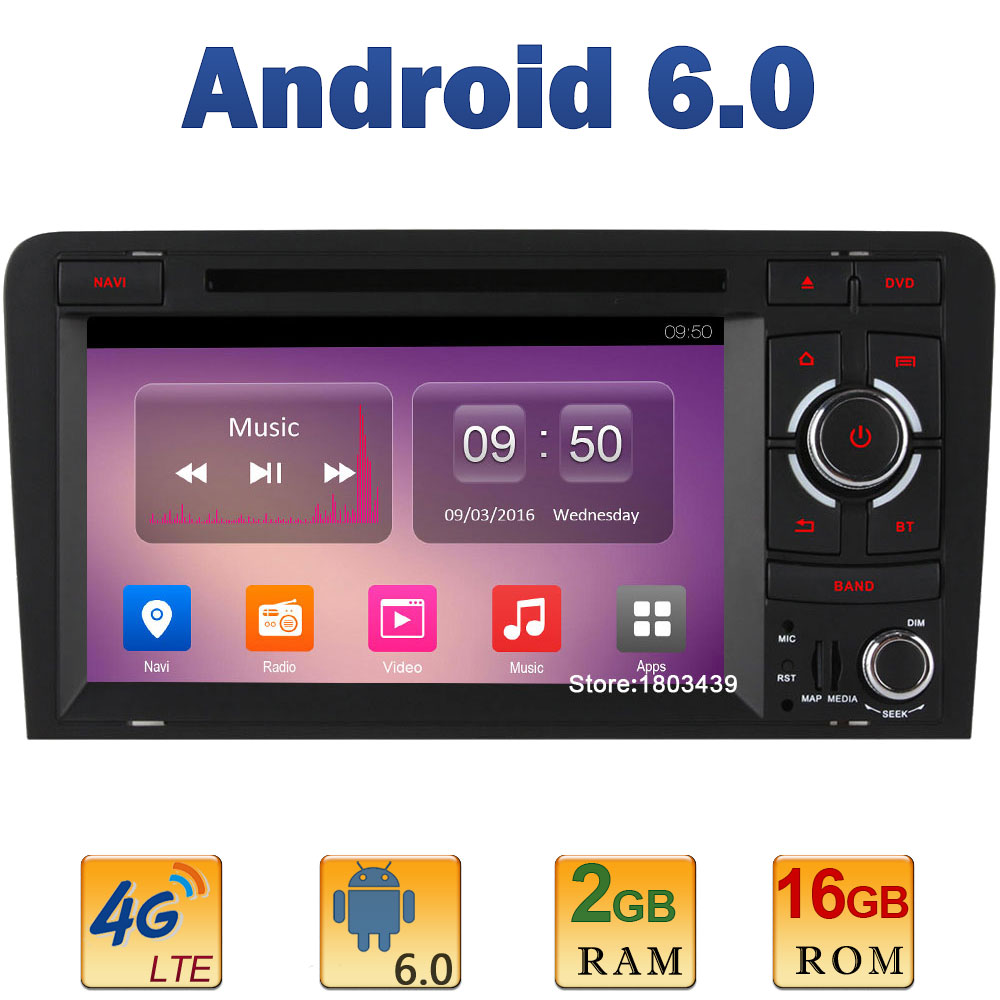 7″ Quad Core 2GB RAM 4G LTE SIM WIFI Android 6.0 Car DVD Video Player Radio Stereo For Audi A3 S3 RS3 2003-2010 2011 2012 2013