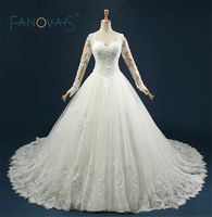 Vestidos Largos Real Photo Big Skirt Gorgeous Full Sleeves Ball Gown Lace Appliques Wedding Gowns Robe