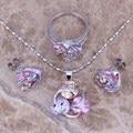 ¡ Venta caliente! Multicolor Sistemas de La Joyería de Plata Amethyst Púrpura Pendientes Colgante Anillo Tamaño 6/7/8/9/10 S0127A