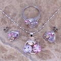 Hot Sell ! Multicolor Purple Amethyst Silver Jewelry Sets Earrings Pendant Ring Size 6 / 7 / 8 / 9 / 10  S0127A