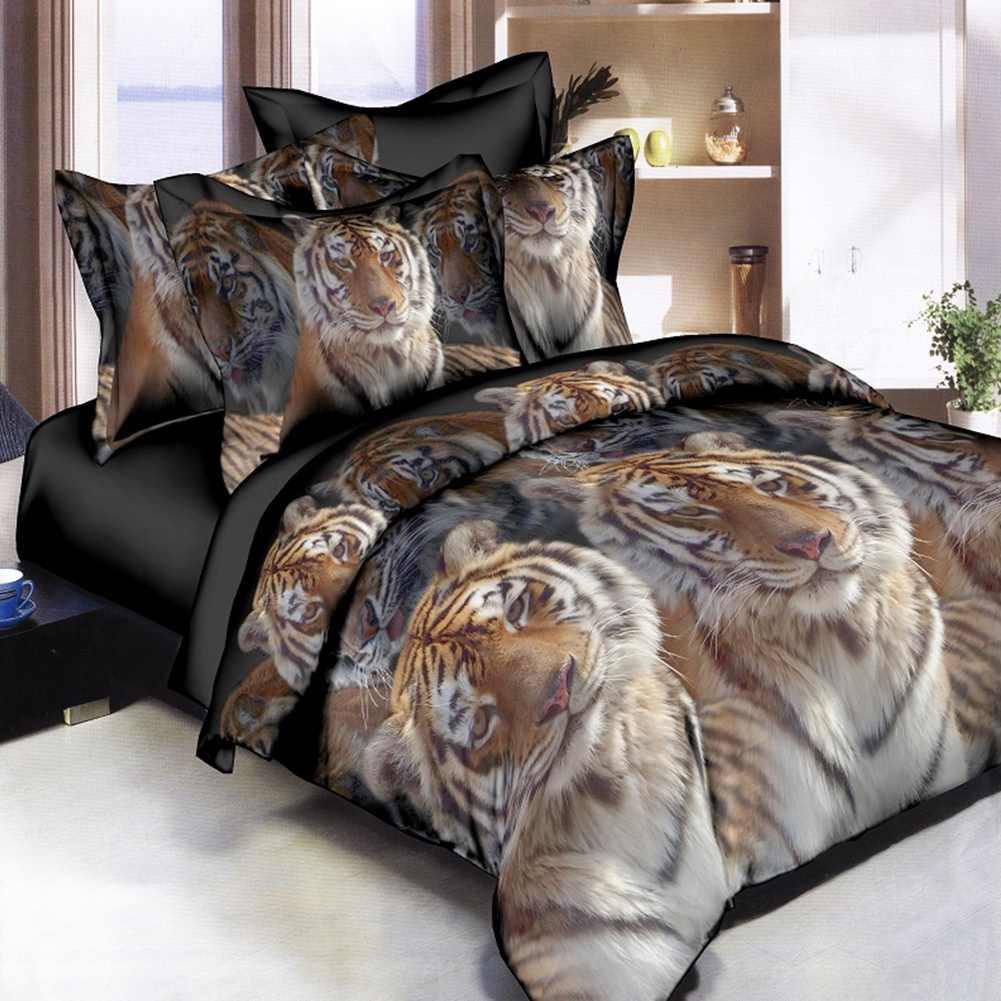 TIGER SKIN SAFARI PRINT DOUBLE-DUVET QUILT COVER FITTED SHEET BEDDING SET