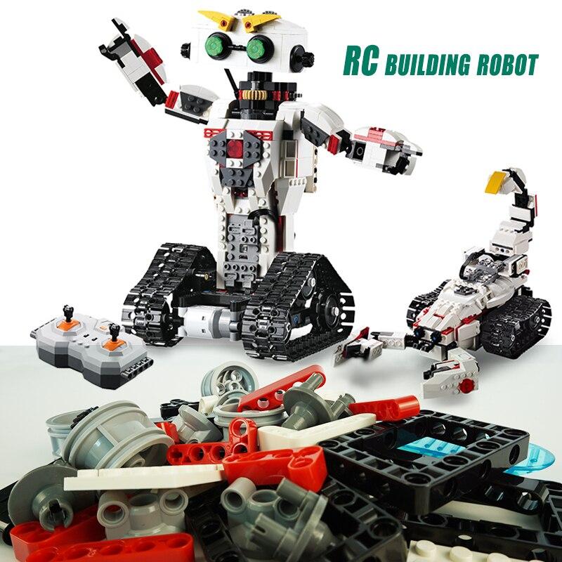 710 piezas de bloques de construcción de Robot Walkable remoto juguetes educativos bloques de Control remoto bloques de Robot creativos juguetes para niños-in Bloques from Juguetes y pasatiempos    1