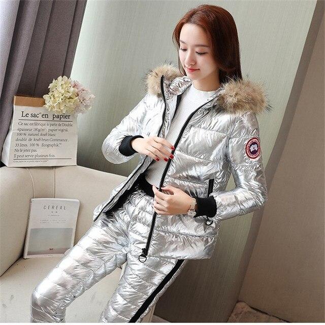 Tracksuit for women 2017 winter women's Real fur collar hooded cotton jacket coat+pants suits female cotton 2 piece sets