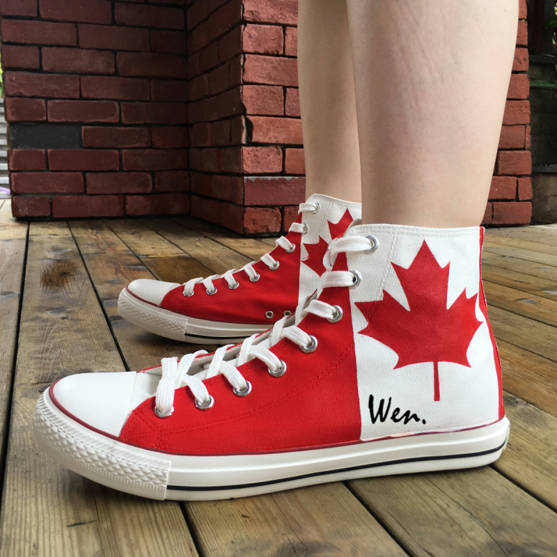 Вэнь Дизайн пользовательские ручной росписью обувь Канада Флаг кленовый лист Для мужчин Для женщин высокие холщовые кроссовки для рождест...