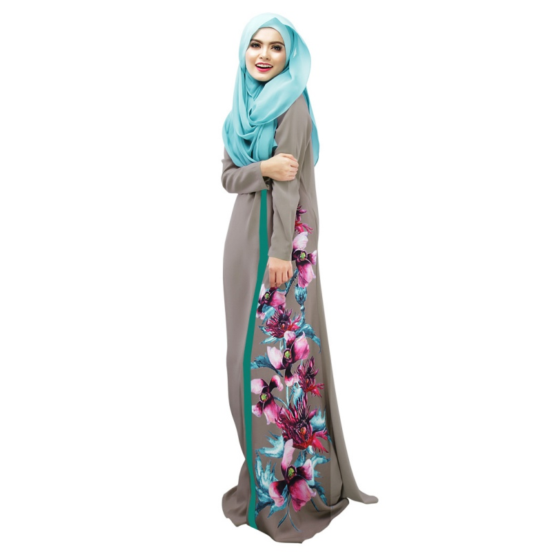 b60380ea02c7 Spring Lady Kaftan Abaya Jilbab Islamic Muslim Floral Long Sleeve Maxi Dress  Fashion-in Dresses from Women's Clothing on Aliexpress.com | Alibaba Group
