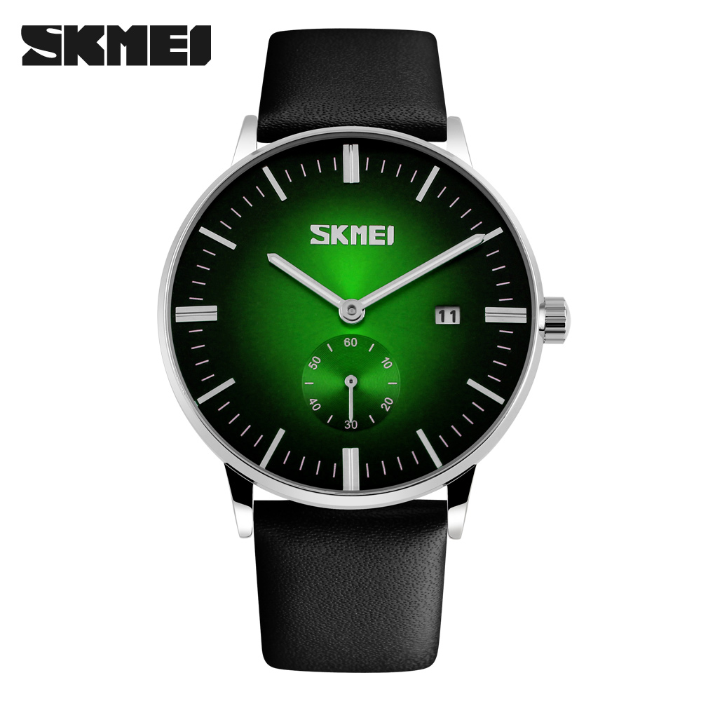 SKMEI Arrival Men Sports Luxury Genuine Calf Leather Watches Business en Casual Quartz Wristwatch With Auto Date New 2018 9083