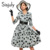 Sisjuly vintage dress mujeres lunares solapa solo pecho manga larga una línea de vestidos de primavera otoño invierno