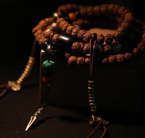 Béni Mala tibétain chapelet perles Rudraksha 108 prière perles bouddhiste prière Mala tibétain Designer Mala