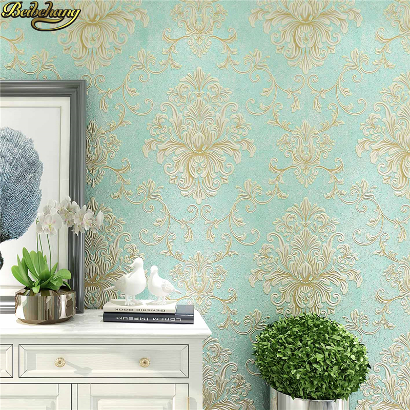 Beibehang 3d Wallpaper Embossed Texture Glitter Baroque Damask Featured Vintage Blue Wall Covering Wall Paper Desivo De Parede