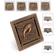 12x12cm Antique Brass Floor Drain Bathroom Shower Room Bath Floor Waste Drainer Drain Floor Waste Carved Drains Sanitary 0506F frap high quality floor drain 20 8 2 cm euro antique brass floor drains cover shower waste drainer bath accessories y38072