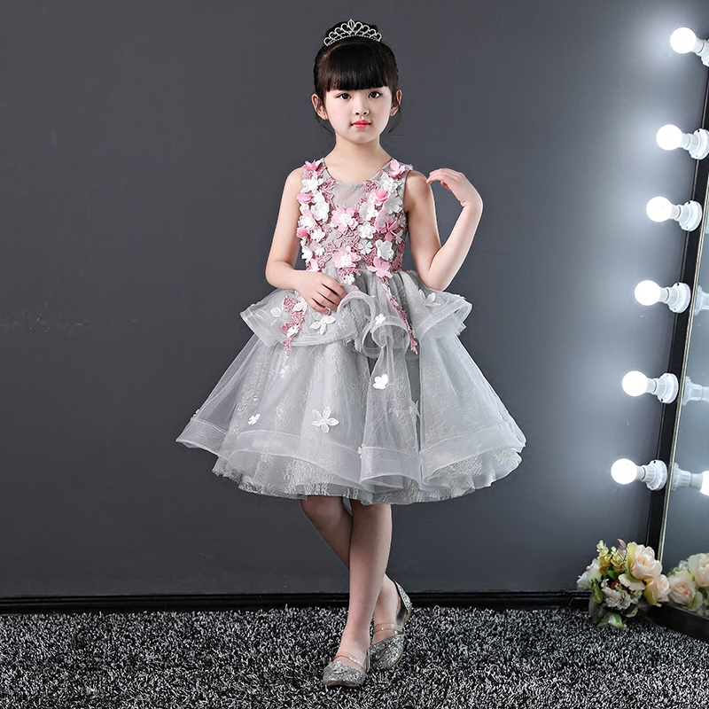 Flower Girl Dresses for Wedding Floral Princess Party Dress Layers Ball Gown Holy Communion Dress for Little Girls Birthday Gift