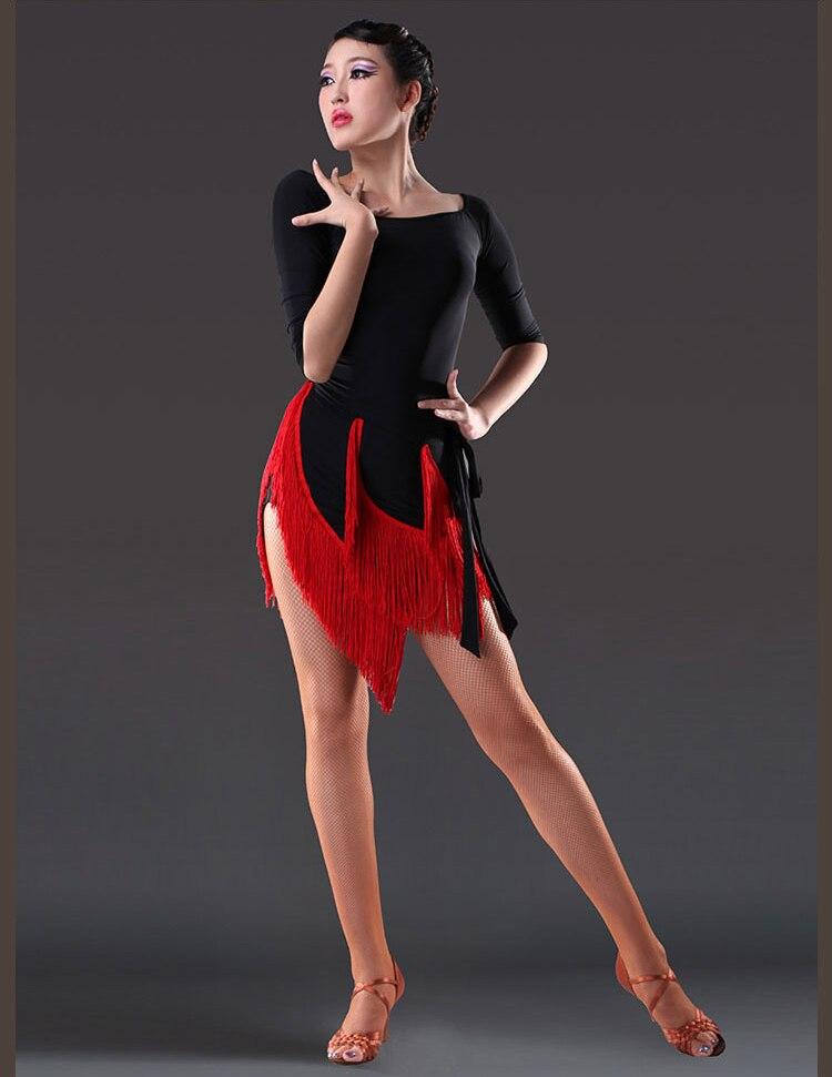 섹시한 술 라틴어 댄스 드레스 여성 블랙 댄스 스커트 삼바 tanzrock 라텍스 댄스 의상 로브 드 danse 라틴어 팜므