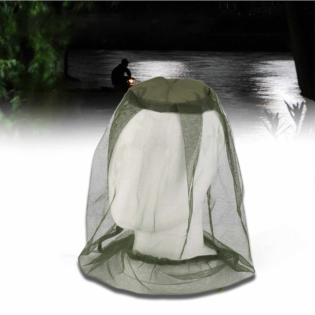 2pcs Anti Mosquito Insect Hat Fishing Bug Mesh Head Net Face Protector Cap Head Cover Fisherman Hat Beekeeping Camping Mask