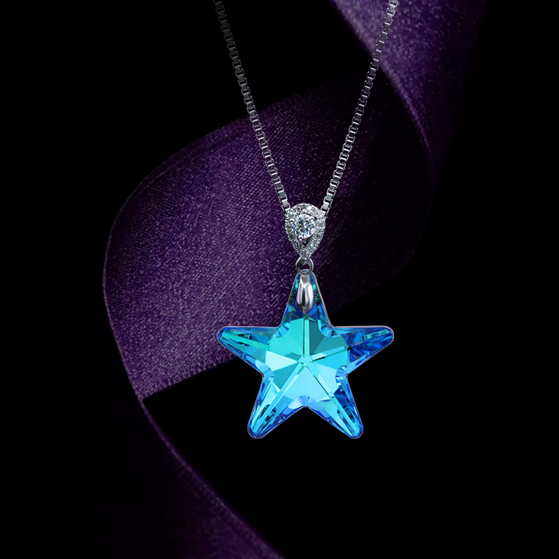 Crystal Starfish Necklace pendants women for jewelry making Clear and Star Chandelier Prism Pendants Shiny Glass
