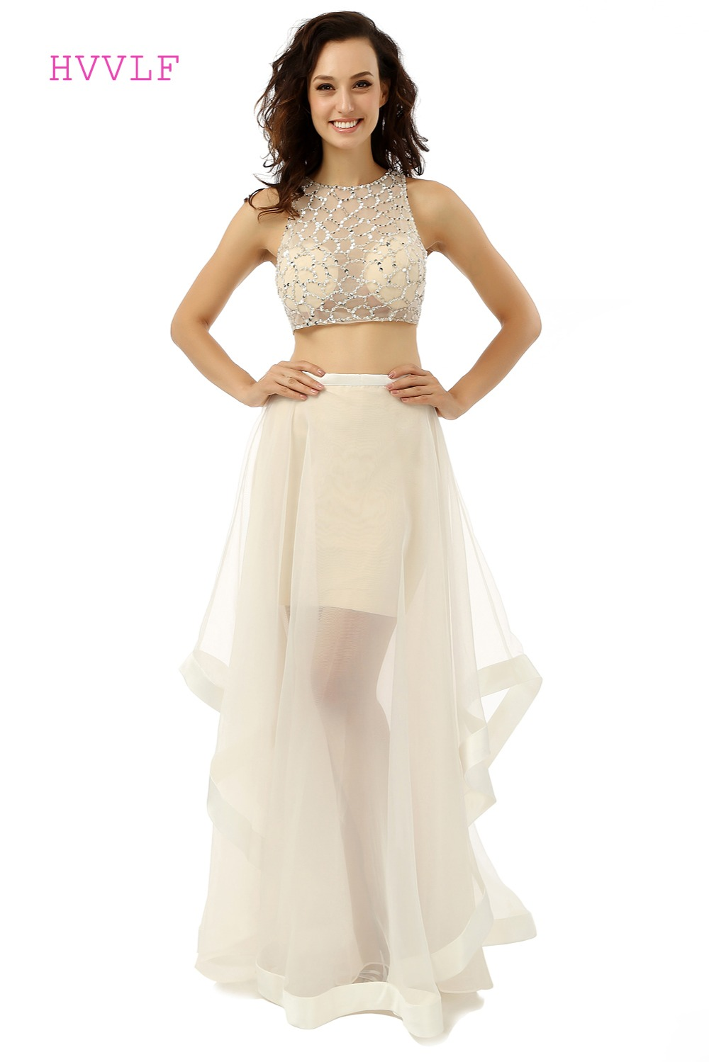 See Through 2019 Выпускные платья с высоким воротником из тюля с бусинами 2 шт. бежевое длинное выпускное платье Вечерние платья Вечернее платье