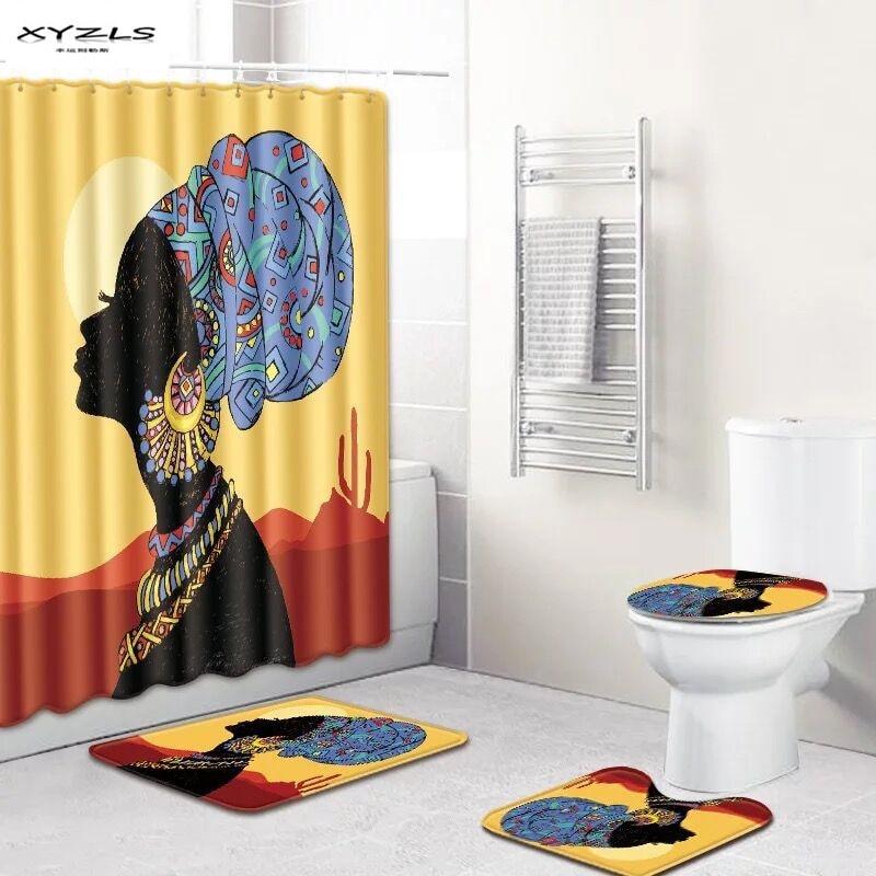 african shower curtain set waterproof bathroom curtain 180x180cm with non slip bathroom mat set bathroom products drop ship