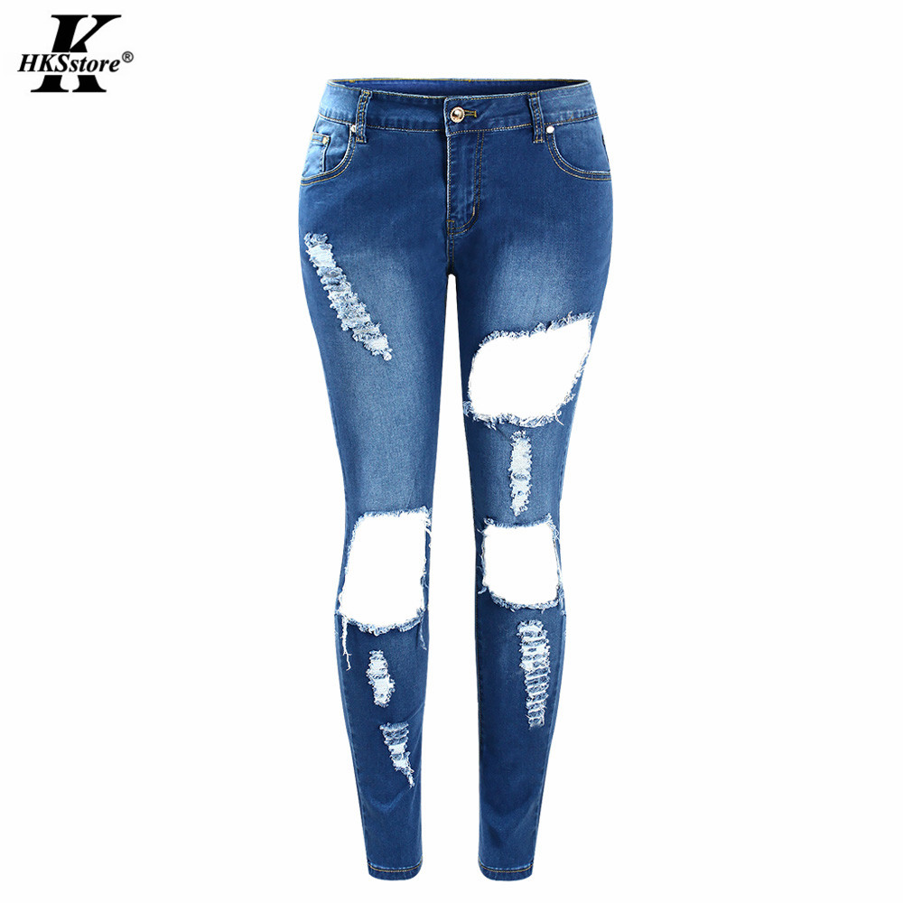 Online Get Cheap Denim Jeans Pants Women Hole Ripped Designer ...