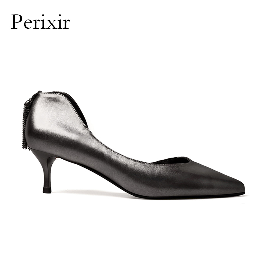 Perixir Genuine Leather High Heels Shoes Women Gun Color Pointed Toe Sexy Thin Heels Party Dress Shoes Office Ladies Pumps allbitefo fashion sexy thin heels pointed toe women pumps full genuine leather platform office ladies shoes high heel shoes