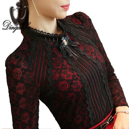 Dingaozlz Royal Elegant Women shirt 2018 Spring Fashion Ladies Lace blouse Plus size Female Lace Tops New brand Women clothing