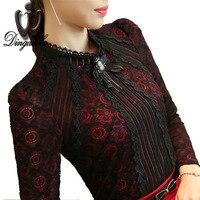 Royal Elegant Women Shirt 2015 Autumn Fashion Ladies Lace Blouse Plus Size Female Lace Tops New