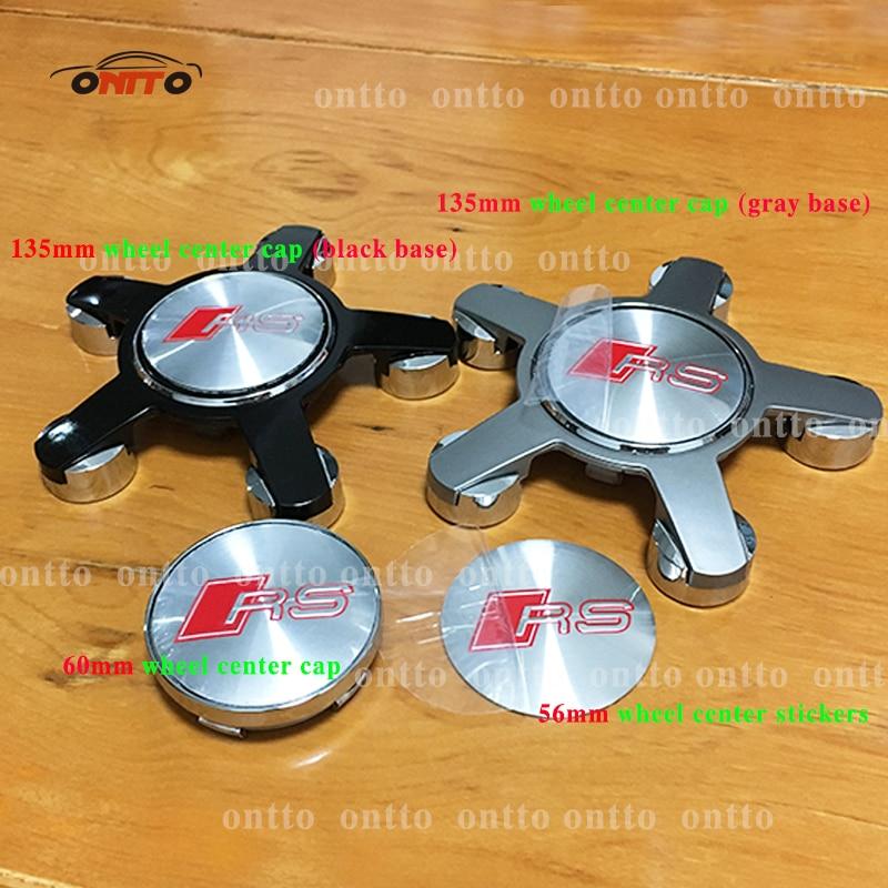 4pcs 56.5mm 60MM 135MM S LINE RS wheel center hub cap cover emblem car styling for A3 A4 A5 A6 A7 A8 S3 S4 S5 S6 S7 Car Sticker