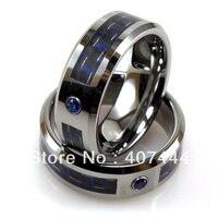 Darmowa Dostawa! Hurtownie USA Hot Sprzedaż Biżuteria Mens Wolfram Pierścionek Z Niebieskim Carbon fiber Wkładka & CZ Stadniny Jego/jej Najlepiej Wedding Ring
