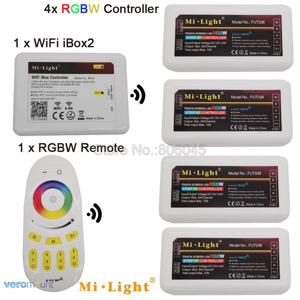 MiLight LED-Streifen 4-Zonen-RGBW-LED-Controller DC12V 24V 10A 2,4G Wireless Remote WiFi Kompatibel für RGB + CW oder RGB + WW Striplight