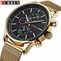 Curren relógio de quartzo dos homens marca de moda casual à prova d' água relógio do esporte relógio de pulso militar relógios relogio masculino dos homens de ouro