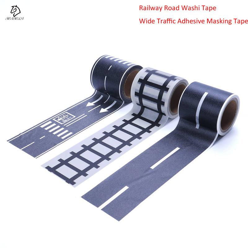 Hot Sale Railway Road Washi Tape Novelty Traffic Road Decorative Adhesive Masking Tape Stickers for Scrapbooking School Supplies 15 pcs lot cloth adhesive tape masking japanese tape cotton decorative scrapbooking stickers novelty school supplies