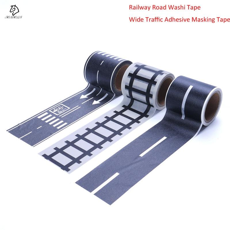купить Hot Sale Railway Road Washi Tape Novelty Traffic Road Decorative Adhesive Masking Tape Stickers for Scrapbooking School Supplies по цене 74.12 рублей