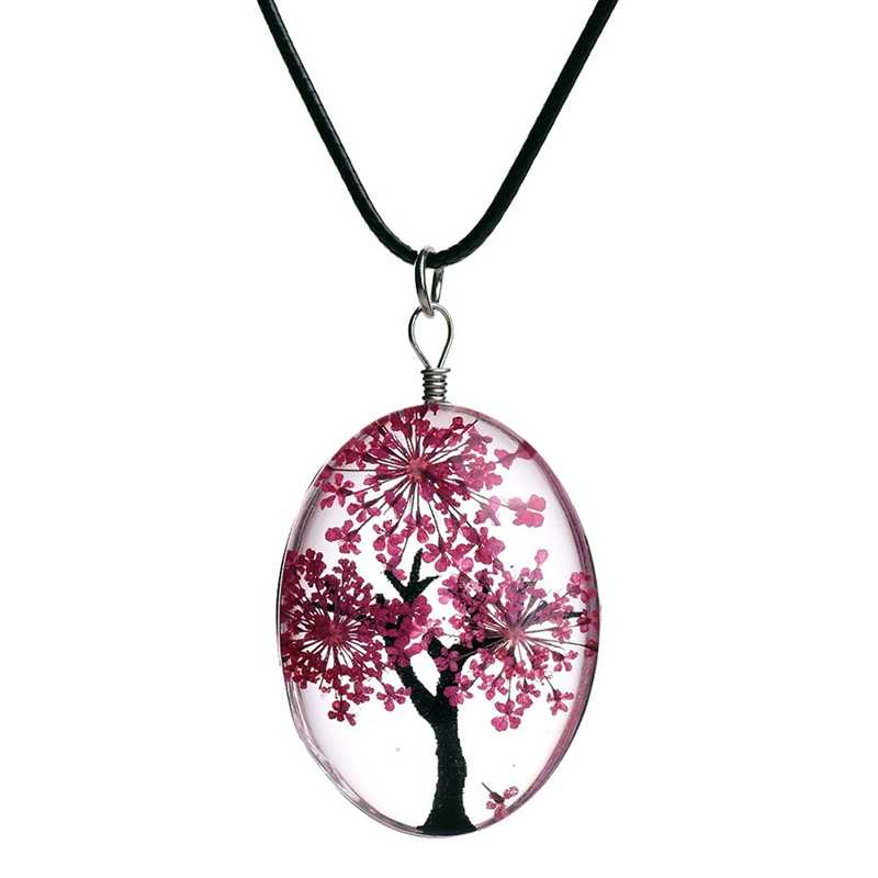 New Retro Jewelry Dried Flower Necklace Tree Of Life Shaped Leather Rope Glass Long Pendant Necklace For Women