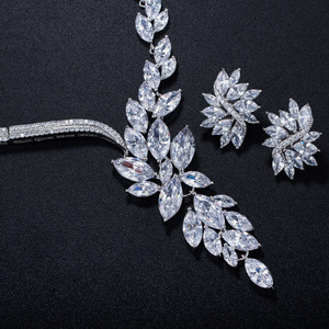Image 5 - CWWZircons Gorgeous Dropping Flower Cubic Zirconia Paved Luxury Bridal Wedding Costume Necklace Jewelry Sets for Brides T048
