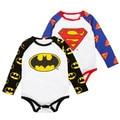 2017 Bebé Recién Nacido Ropa de Batman Ropa de Algodón de Los Mamelucos Del Bebé Recién Nacido Bebe Manga Larga Superman Trajes Para Niños