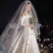 Foto real blanca/Marfil velo De novia De dos capas 3,5 m borde De la cinta Mantilla velo De novia accesorios De boda Veu De Noiva 45