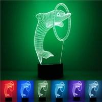 Colorful 3D USB LED Animale Delfino Anello Anello di Luce di Notte Cambia Colore Lampada Da Tavolo Da Tavolo Circolare Della Novità Del Partito Home Decor